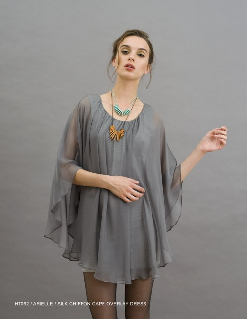 Holy Tee Holiday 2011 Collection - HT062 / Arielle / Silk Chiffon Cape Overlay Dress