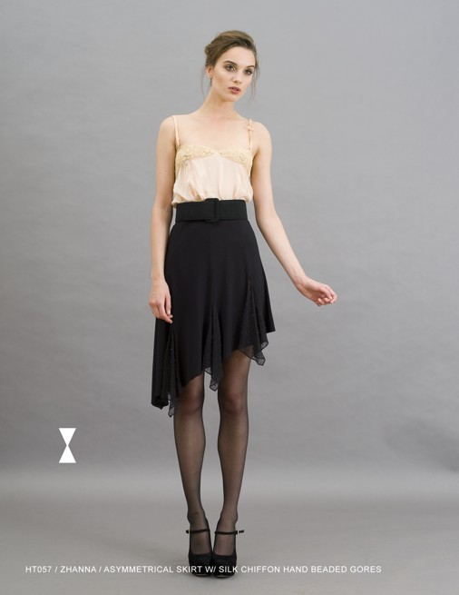 Holy Tee Holiday 2011 Collection - HT057 / Zhanna / Asymmetrical Skirt with Silk Chiffon Hand Beaded Gores