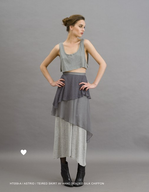 Holy Tee Holiday 2011 Collection - HT059-A / Astrid / Tiered Skirt with Hand Beaded Silk Chiffon