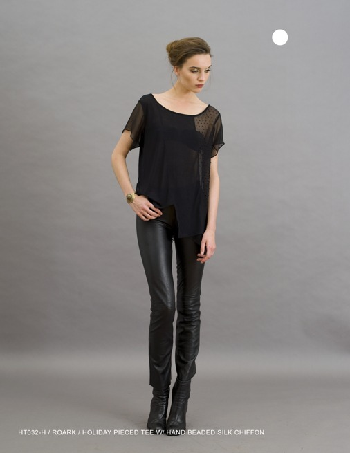Holy Tee Holiday 2011 Collection - HT032-H / Roark / Holiday Pieced Tee with Hand Beaded Silk Chiffon