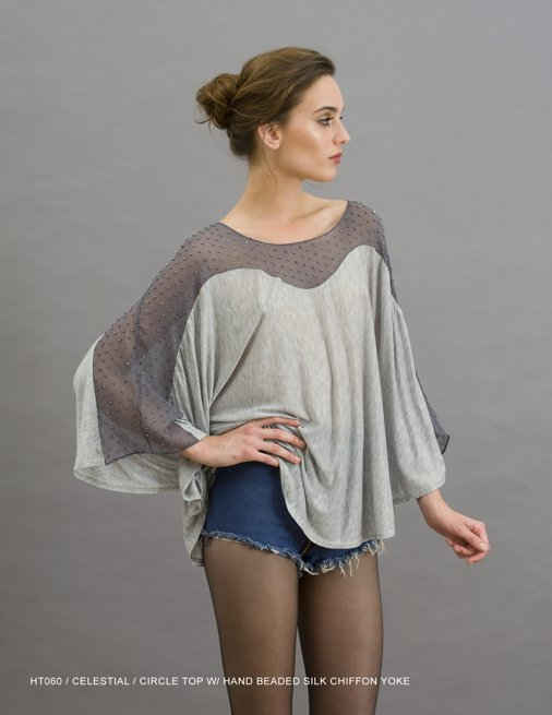 Holy Tee Holiday 2011 Collection - HT060 / Celestial / Circle Top with Hand Beaded Silk Chiffon Yolk