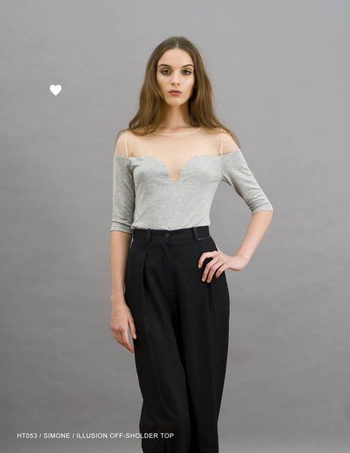 Holy Tee Holiday 2011 Collection - HT053 / Simone / Illusion Off-Shoulder Top (gray)